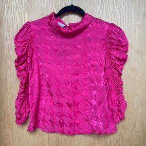 NWT - ZARA Hot Pink Chevron Ruffled Sleeve Top